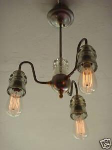 INDUSTRIAL MODERN LIGHT FIXTURE VINTAGE 30's GLASS LAMP