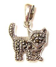 MINI KITTY CAT PENDANT CHARM Marcasite Stones .925 STERLING SILVER (1/2-inch)