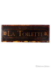 "Iron Metal Tin Signs Bath Sign Bathroom ""La Toilette"" Wall Door Plaque"