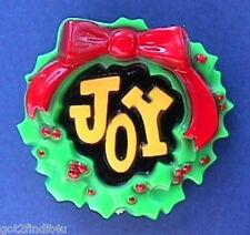 BUY1&GET1@50%~Hallmark PIN Christmas Rare JOY Holly WREATH Vtg 1970s Brooch