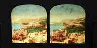 Napoli Italia Stereo Diorama Tessuto Vintage Albumina Ca 1860