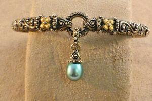 Barbara Bixby Sterling & 18Kt Gold Blue Pearl Hinged Drop Bracelet Med to Lg