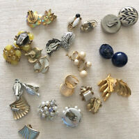 Lot 14 Pair Vintage Clip On Earrings Cluster Dangle Yellow Gold Silver Pearl