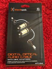 BLACK WEB 6 FT DIGITAL OPTICAL AUDIO CABLE WITH MINI ADAPTERS BRAND NEW