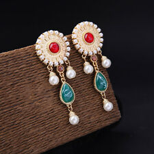 Boucles d`Oreilles Clips Pince Doré Tassel Mini Perle Rouge Vert Class Retro X13