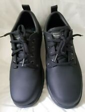 Skechers 64260 NWOT Mens Black Leather Lace-Up Work Oxford Shoes Size 9.5