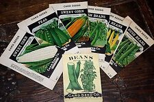 Lot: 6 Vintage 1920's Lithograph Vegetable Seed Boxes, Card Seed Co. NOS + bonus