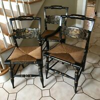 3 Vintage Hitchcock Chairs 1950s 2 Side Chairs + 1 Arm Chair Turtle Back Black