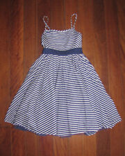 Girls MONSOON Striped Navy & White Party Dress Size 6-7