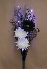 ARTIFICIAL SILK BLACK & WHITE FLOWERS, SILVER BRANCH, LED LIGHT BOUQUET FOR VASE