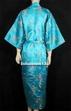Elegant Dragon Design Silk Satin Kimono Robe Sleepwear w/ Waist Tie, Turquoise