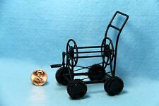 Dollhouse Miniature Garden Hose Reel with Wheels in Black Metal ~ G8640