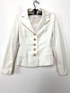 Escada Ivory Cotton Blend Tailored Women's Blazer Jacket Work Chic Sz 38 US 8 M