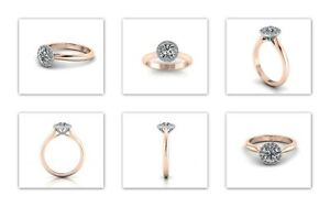 Round brilliant Halo Rose Gold 0.70 E VS2 Diamond ring with GIA