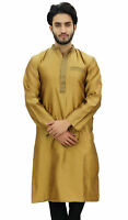 Atasi Men's Band Collor Gold Kurta Dupion Full Sleeve Ethnic Shirt