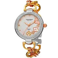 Akribos XXIV AK874TRI Diamond Markers MOP Flower Dial Crystal Bezel Womens Watch