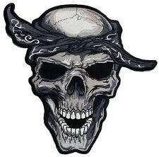 "Bandana Du Rag Reaper Rap Skull Biker Big Jumbo Embroider Back Vest Patch 12"""