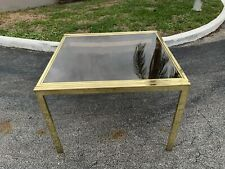 1970s Milo Baughman DIA Brass Smoked Glass Extension Dining Table