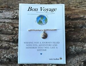 TRAVELLING GIFT BRACELET KEYRING FRIENDSHIP TRAVEL WISH BRACELET GAP YEAR CARD