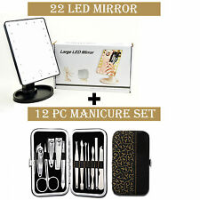 22 LED Lights Makeup Vanity Mirror & 12pc Manicure Pedicure Set Nail Cutter kit