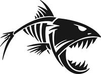 Angry Fish V fishing logo sticker decal angling fly  tackle box vinyl sticker