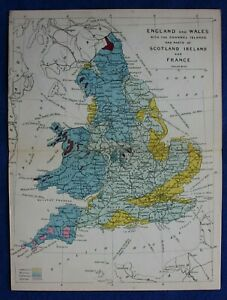 Original antique GEOLOGICAL MAP, ENGLAND & WALES, Emslie, Reynolds, 1864-89