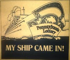 Vintage 70s Pennsylvania Lottery My Ship Came In! Iron-On Transfer RARE!