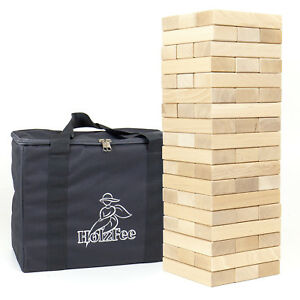 Wackelturm HolzFee PREMIUM XL Bauklötze 18 x 6 x 3 cm Holz Rotbuche XXL Tasche