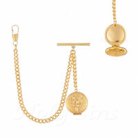 Brand New Gold Colour Single Albert Pocket Watch Fob Chain With Locket