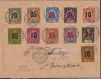 St. Pierre & Miquelon 1912 Navigation & Commerce Surcharge Set on Cover