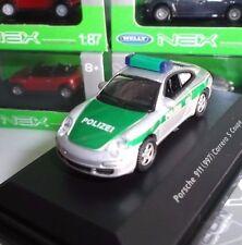 WELLY NEX MODELS MINIATURE PORSCHE 911 CARRERA S COUPE POLIZEI POLICE 1:87 OVP