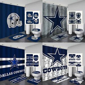Dallas Cowboys Non-Slip Bathroom Rug Set 4PCS Shower Curtain Toilet Lid Cover