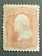 UNITED STATES 1861  3 CENT ROSE WITH GRILLE  FINE USED