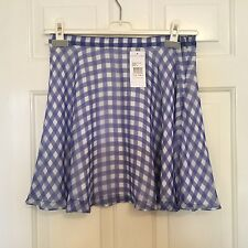 Ralph Lauren silk floaty lined skyblue gingham A line short skirts sizes 10/14