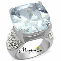 Stainless Steel 18mm Large Cushion Cut Cz  Engagement Ring Women's Size 5-10