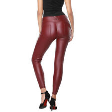 Women Fleece Faux PU Leather Leggings Pencil Pants Winter Warm Stretchy Trousers