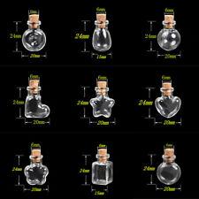 10Pcs Mini Clear Empty Glass Cork Bottle Jar Vials Wish Charm Pendant Necklace