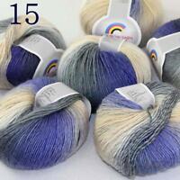 AIP Soft Cashmere Wool Colorful Rainbow Shawl DIY Hand Knitting Yarn 50grx6 15