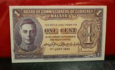 Malaya KGVI One Cent 1941  UNC