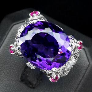 Size 6 Sterling Silver Ring w 1.75 Carat Oval Amethyst w Cherry Flash Montana