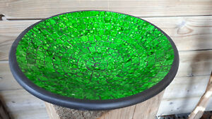 29cm grün glas Mosaik Obst Deko Schale Teller Terracotta alter Preis 29,00
