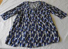 Ladies Plus size 20+  BELLE CURVE 3/4 sleeve SHIRT Tunic Blue white grey