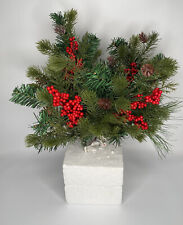 """Christmas Holiday Pine Spruce Holly Berry Floral Pick Wreaths, Garland 15"""" NEW."""