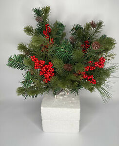 """4 Christmas Holiday Pine Spruce Holly Berry Floral Pick Wreaths Garland 15"""" NEW"""