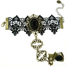 Bracelet femme réglable Dentelle noir Bague papillon bronze doré Gothique Lolita