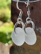 Genuine white glass  dangle earrings