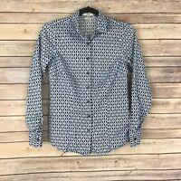 Van Heusen Womens Top Cotton Button Down Blouse Printed Long Sleeve Size XS