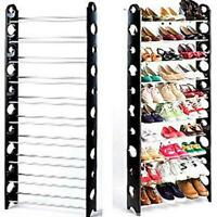 10 Tier Durable Storage Organizer 30 Pair Shoe Tower Rack Free Well-ventilated