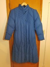 Vtg Blue Women Warm Jacket Goose Down Winter Long Parka Coat Jacket L puff Quilt