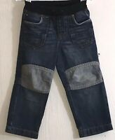 Tommy Hilfiger Toddler Boy's Sz 2T Blue Jeans Elastic Waist Front Tie Knee Patch